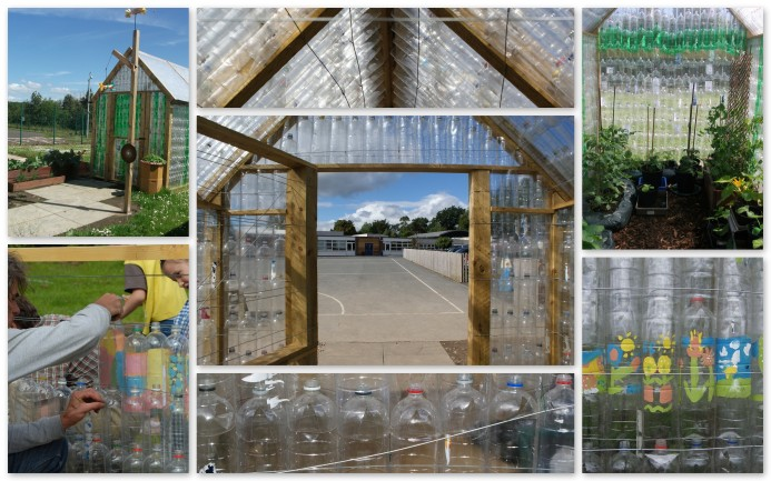 plastic bottle greenhouse collage