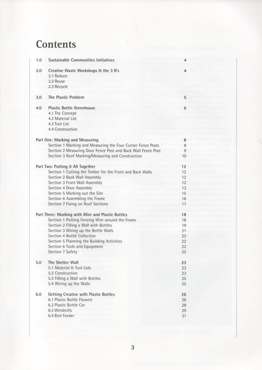 "Scan of the contents page from ""Plastics are Fantastic"" book"