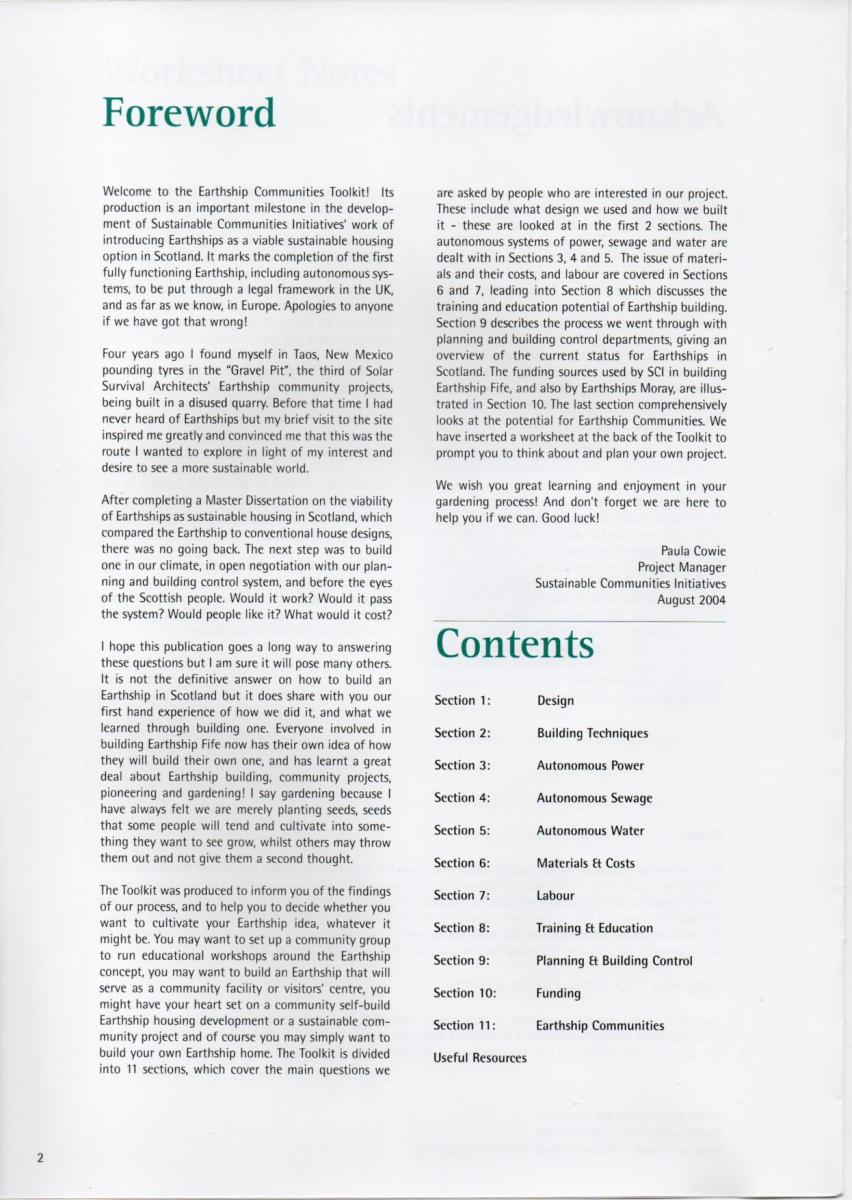 Scan of the Foreword page from the Earthship Toolkit