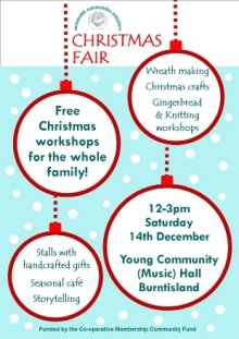 Poster promoting SCI's Christmas Fair (2013).