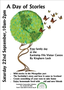 Poster for the 'Day of Stories' family day at The Eartship Fife Visitor Centre (2012).