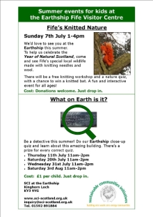 Flyer promoting summer 2013 events for kids at The Earthship Fife Visitor Centre.