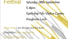 Poster promoting the Harvest Festival (2013) at the Earthship Fife Visitor Centre.