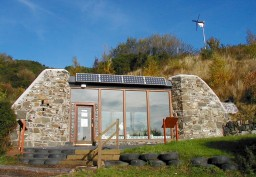 Exterior photograph of Earthship Fife